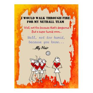 Netball bringt Strichmännchen mit lustigem Zitat Postkarte
