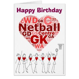 Netball-Herz bringt alles Gute zum Geburtstag in Karte