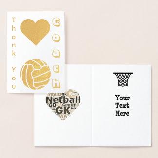 Netball-Spieler-Trainer danken Ihnen Gold Folienkarte