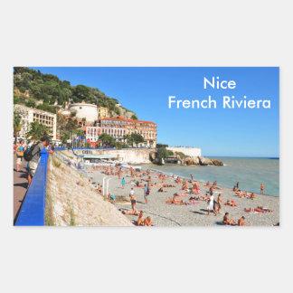 Nett. Französisches Riviera Rechteckiger Aufkleber