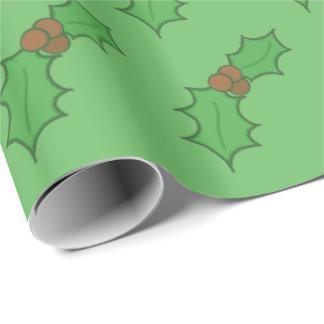 Nettes Weihnachtsstechpalmen-Blatt-rotes Geschenkpapier