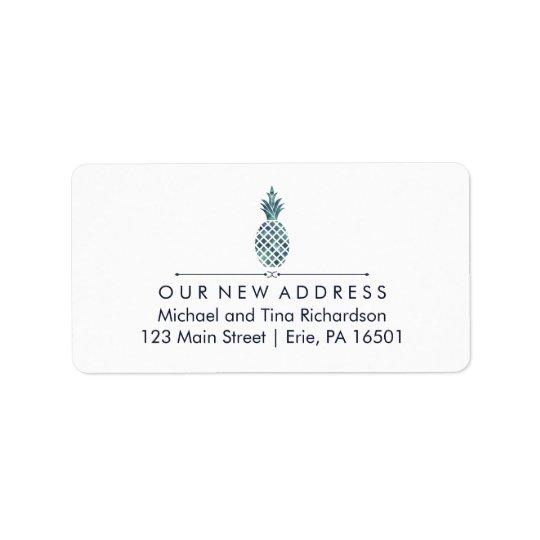 Neue Adresse mit blauer Aquarell-Blick-Ananas Adressaufkleber