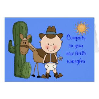 Neue Baby-Jungen-und Pony-Glückwünsche - Western Grußkarte