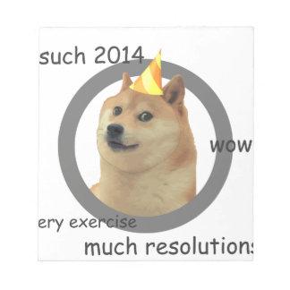 Neue Jahre Entschließungdoge- Schmierblöcke