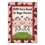 Neue Job-oder Werbeaktion-Glückwünsche - Kühe Karten
