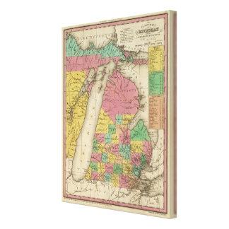 Neue Karte von Michigan Leinwand Drucke