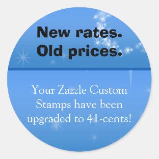 Neue Rate, alter Preisaufkleber Runder Aufkleber
