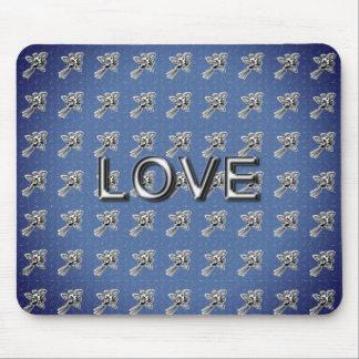 NEUE Rose-Retro-Seide-Nacht-Blaue Silber-Liebe (c) Mousepad