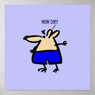 Neue TagesCartoonmaus im Blau auf einem Plakat
