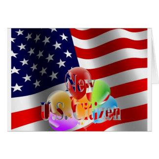 Neue US-Bürger-Flagge und Ballone Grußkarte