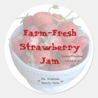 Neuer Erdbeermarmeladen-Glas-Aufkleber (fertigen Runder Aufkleber
