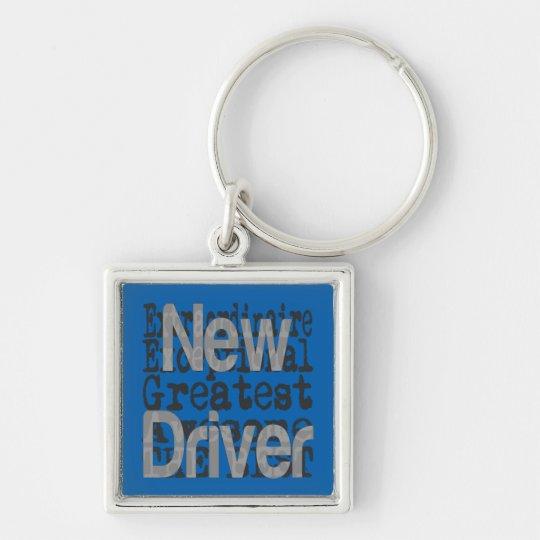 Neuer Fahrer Extraordinaire Silberfarbener Quadratischer Schlüsselanhänger