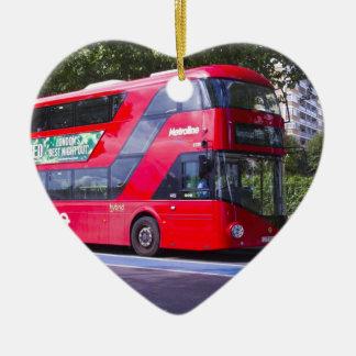 Neuer London-Rot-Bus Keramik Herz-Ornament
