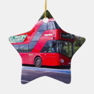 Neuer London-Rot-Bus Keramik Stern-Ornament