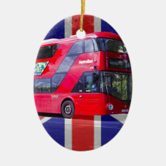 Neuer London-Rot-Bus Ovales Keramik Ornament