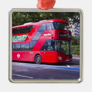 Neuer London-Rot-Bus Quadratisches Silberfarbenes Ornament