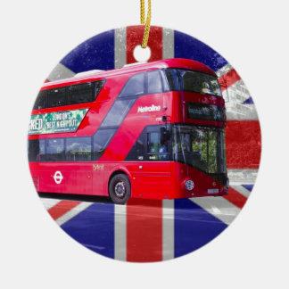 Neuer London-Rot-Bus Rundes Keramik Ornament
