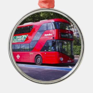 Neuer London-Rot-Bus Rundes Silberfarbenes Ornament