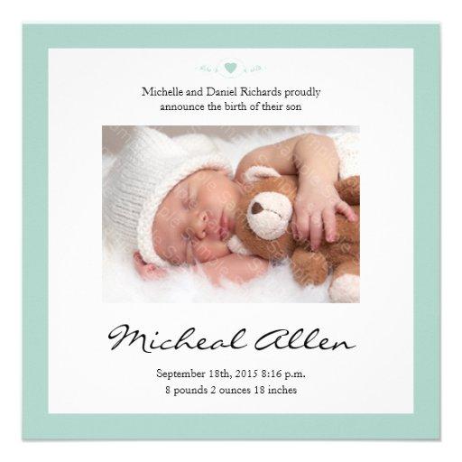 Neues Baby-Gedicht-Geburts-Mitteilungs-Minzen-Grün Individuelle Einladungskarten