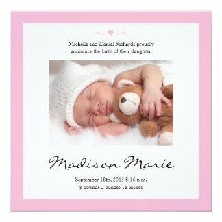 Neues Baby-Gedicht-Geburts-Mitteilungs-Rosa Quadratische 13,3 Cm Einladungskarte