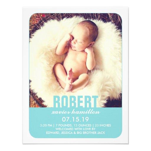 Neues Baby-Jungen-Foto-flache Mitteilung Personalisierte Ankündigungskarte