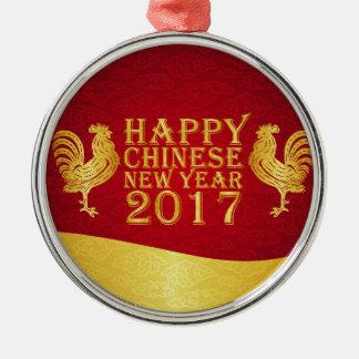 Neues Jahr-chinesische Art-Hahn 2017 Rundes Silberfarbenes Ornament