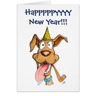 Neues Jahr: Hund (Boom-Boom) Grußkarte