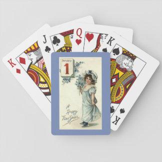 Neues Jahr-Mädchen Spielkarten