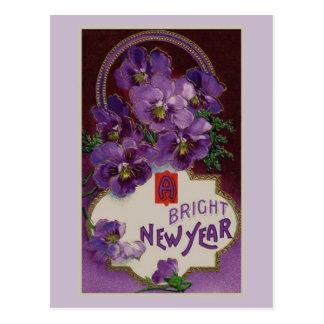 Neues Jahr mit lila Blumen Postkarte