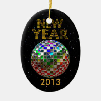 Neues Jahr-Spiegel-Ball-Tanz-Party Keramik Ornament