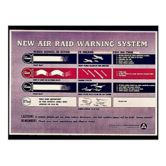 Neues Luftangriff-Warnsystem Postkarte