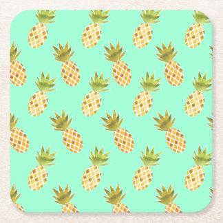 Neues tropisches Aquarell-Ananas-Muster Rechteckiger Pappuntersetzer