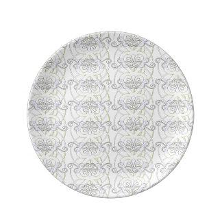 NEUES Vintages Art-Herz-Muster Teller