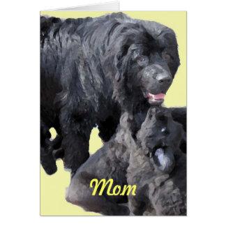 Neufundland-Mamma u. Welpen Mutter Tageskarte Karte