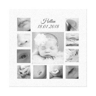 Neugeborene schwarze u. weiße Collagen-Leinwand Leinwanddruck
