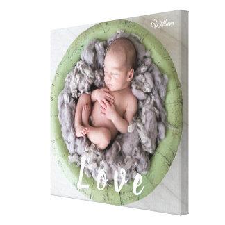 Neugeborenes Baby-Liebe-Foto-Bild-personalisierter Leinwanddruck