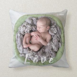 Neugeborenes Babyname Liebe-Foto-Bild Kissen
