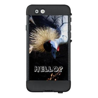 Neugieriger gekrönter Kran, der das Telefon LifeProof NÜÜD iPhone 6 Hülle