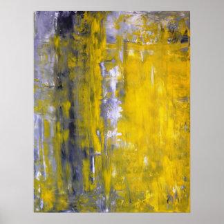 """""""Neugieriges"""" graues und gelbes abstraktes Poster"""