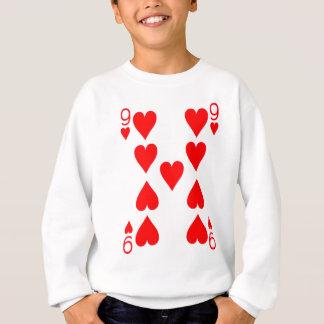 Neun der Herz-Spielkarte Sweatshirt