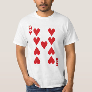 Neun der Herz-Spielkarte T-Shirt