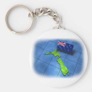 Neuseeland mit seiner eigenen Flagge Standard Runder Schlüsselanhänger