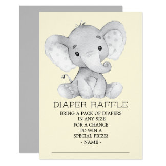 Neutrale Elefant-Babyparty-Windelraffle-Karte Karte