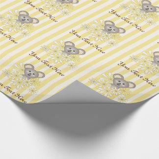 Neutrales Kindergeburtstag-Gelb der Baby-Duschen-  Einpackpapier