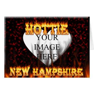 New Hampshire Hottie Feuer und rotes Marmorherz Karte