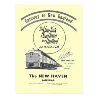New-Haven Eisenbahn-Zugang nach Neu-England 1950 Postkarten