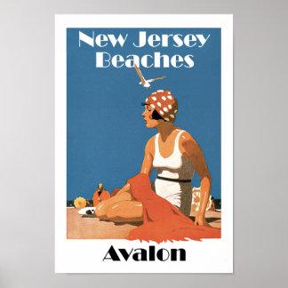 New-Jersey setzt ~ Avalon auf den Strand Poster