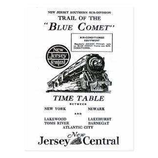 New-Jersey zentraler blauer Kometen-Zug Postkarten