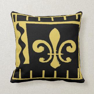 New- OrleansLilie, -SCHWARZES und -gold Kissen