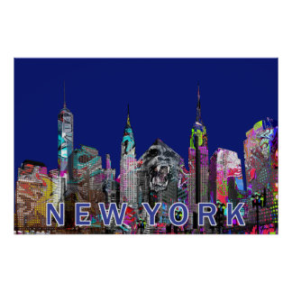 New York City in den Graffiti Poster